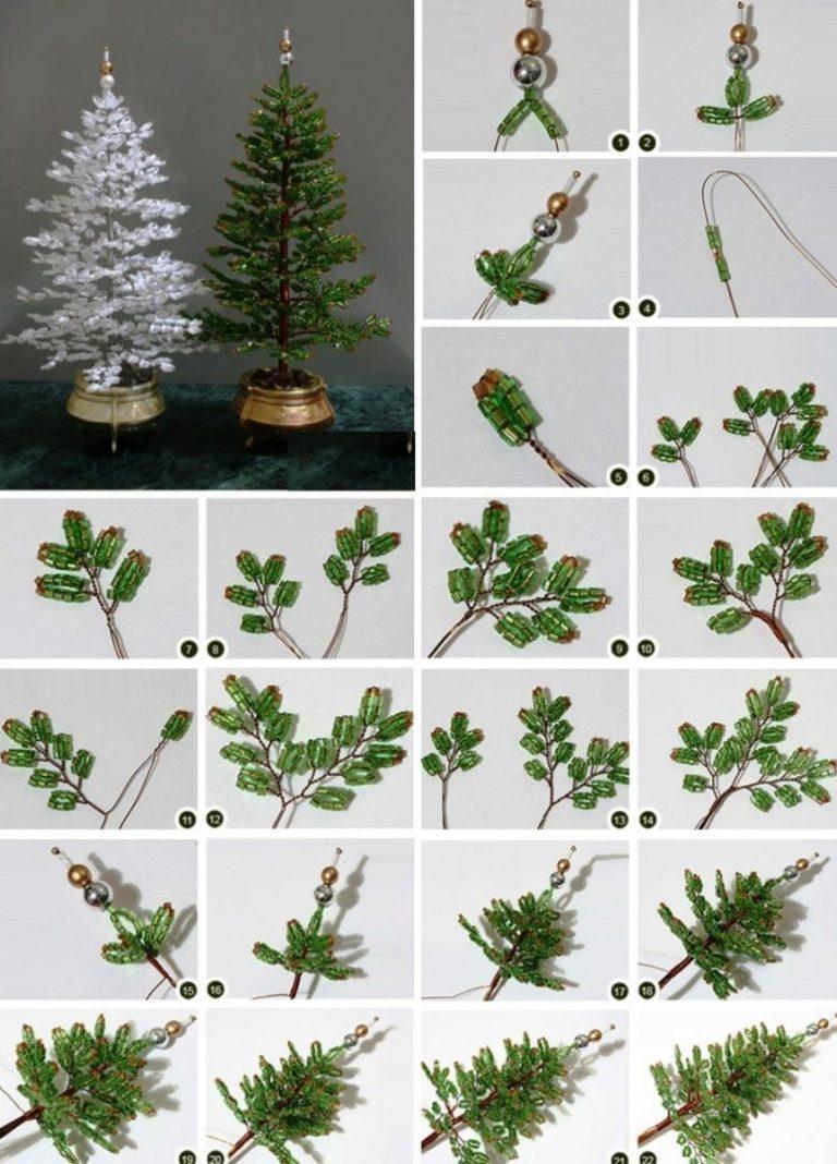 Схема плетения в картинках дерева из бисера
