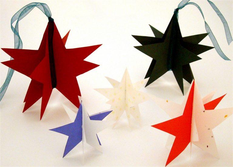 Звезды из цветной бумаги