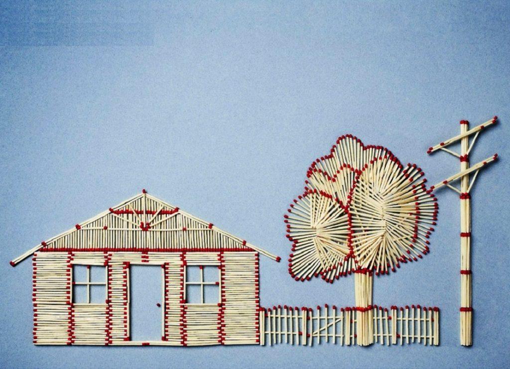Загородный домик из спичек своими руками