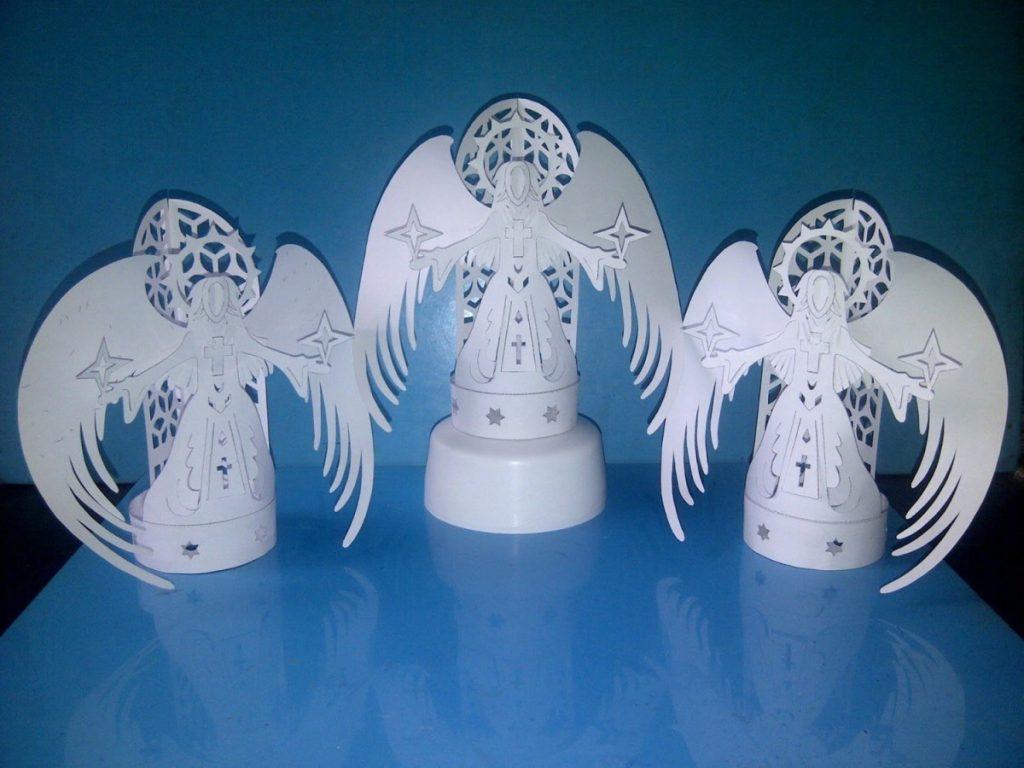 берем поделка ангела из бумаги объемная ели или