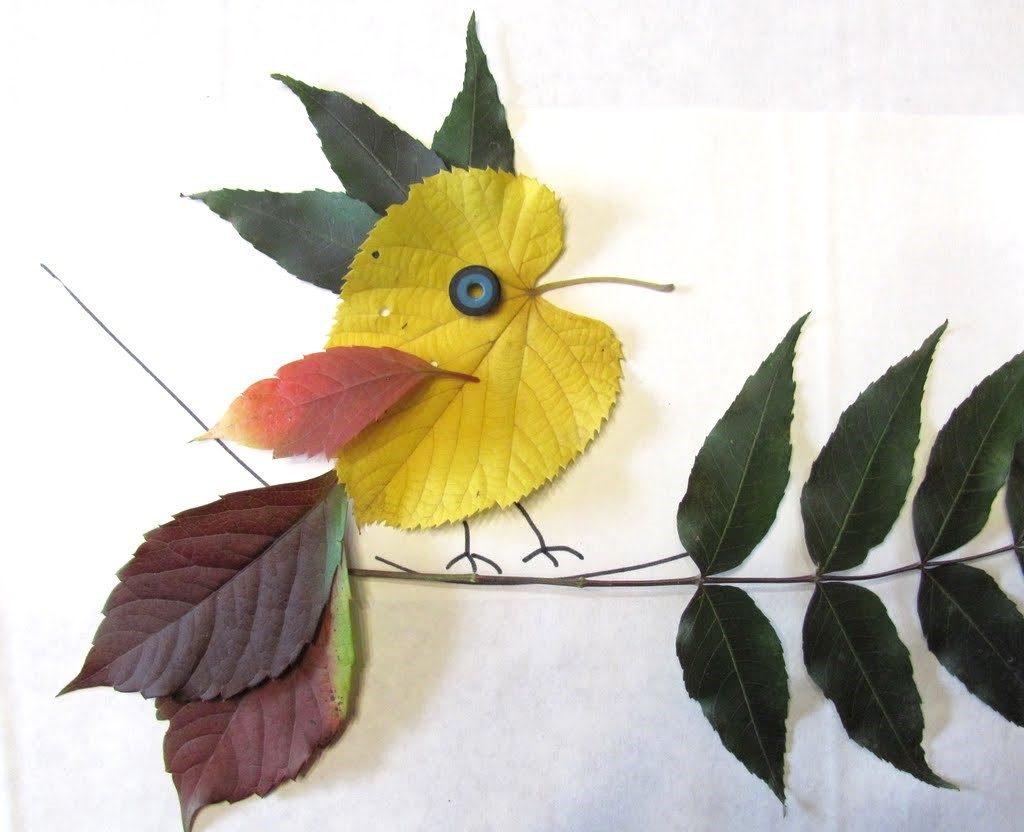поделиться поделки и рисунки из листьев физкультура хорошо